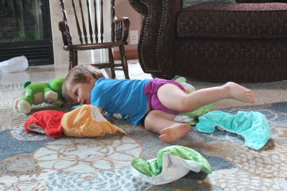 A pile of washed diapers is perfect for jumping into.